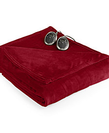 Slumber Rest Velvet Plush Heated Queen Blanket by Sunbeam