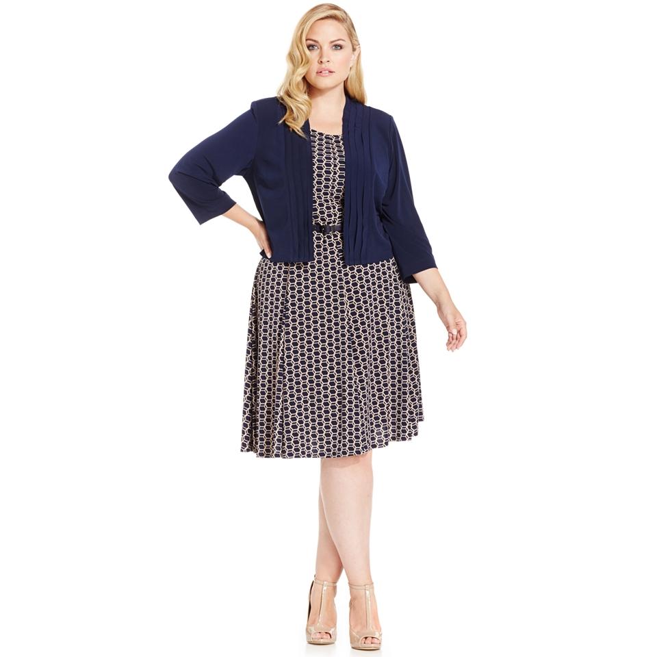 Jessica Howard Plus Size Sleeveless Printed Dress & Bolero Jacket