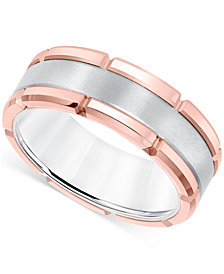 Men's Brushed Comfort-Fit 8mm Wedding Band in White and Rose Tungsten Carbide