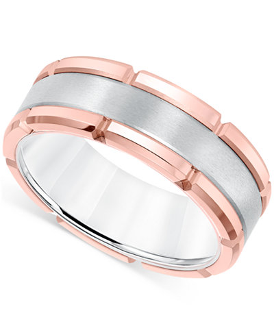 Mens Brushed Comfort Fit 8mm Wedding Band In White And Rose Tungsten Carbide Macys