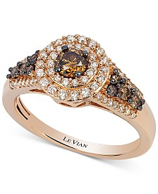 Le Vian Chocolatier® Chocolate Diamond and White Diamond Halo Ring (3/4 ct. t.w.) in 14k Rose Gold