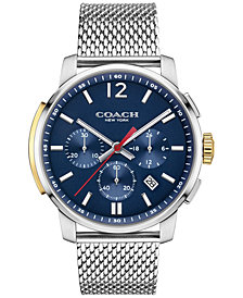 COACH MEN'S BLEECKER CHRONO STAINLESS STEEL MESH BRACELET WATCH 42MM 14602022, MACY'S EXCLUSIVE