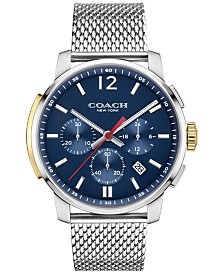 COACH Men's Bleeker Chrono Stainless Steel Mesh Bracelet Watch 42mm, Created For Macy's