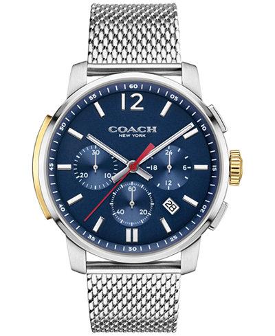 COACH MEN'S BLEECKER CHRONO STAINLESS STEEL MESH BRACELET WATCH 42MM 14602022, MACY'S EXCLUSIVE