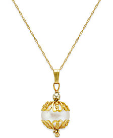 Cultured Freshwater Pearl Pendant Necklace (9-1/2mm) in 14k Gold