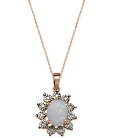 Semi-Precious Stone and Diamond Accent Pendant Necklace Collection in 14k White, Yellow and Rose Gold