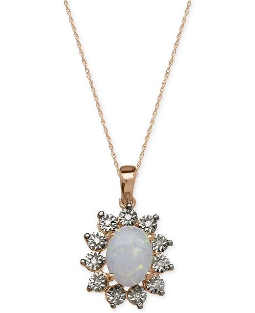 Macy's Semi-Precious Stone and Diamond Accent Pendant Necklace Collection in 14k White, Yellow and Rose Gold