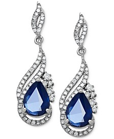 white earrings stud carat saphire sapphire blue set bezel gold