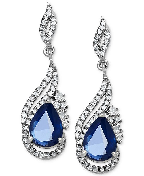 Macy's Sapphire (1-3/4 ct. t.w.) and Diamond (1/3 ct. t.w.) Drop Earrings in 14k White Gold