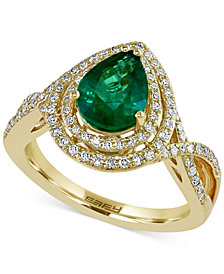 Brasilica by EFFY Emerald (1-1/6 ct. t.w.) and Diamond (3/8 ct. t.w.) Ring in 14k Gold, Created for Macy's