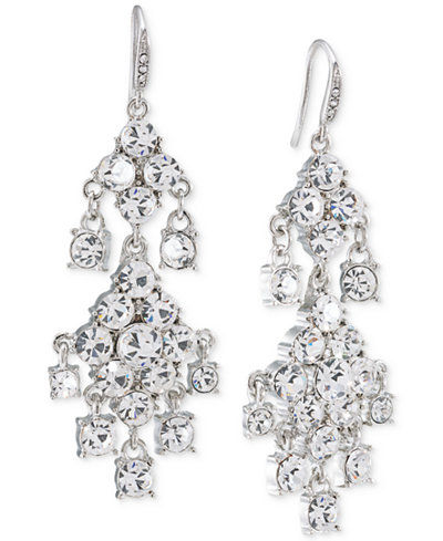 Carolee Silver-Tone Crystal Double-Drop Chandelier Earrings