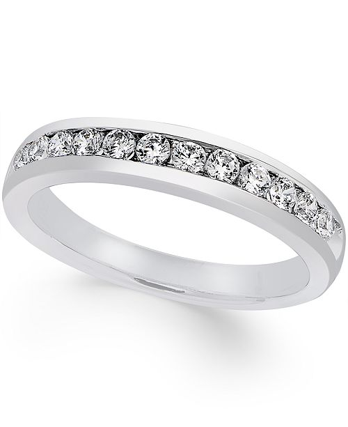d1b2b7b317294 Macy s Certified Diamond Channel Set Band (1 2 ct. t.w.) in Platinum ...