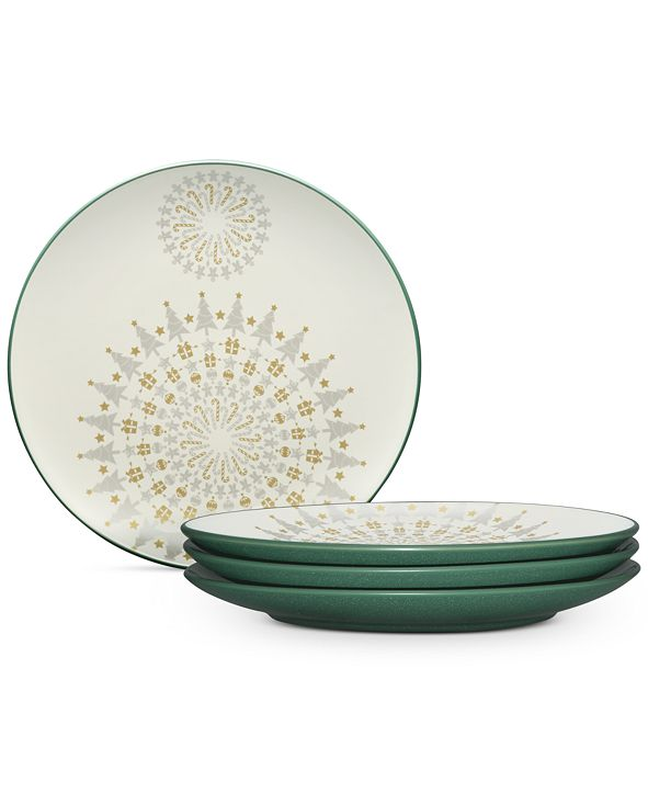 Noritake Dinnerware Set of 4 Colorwave Spruce Holiday Plates