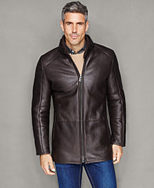 The Fur Vault Mens Shearling Leather Stand-Collar Jacket