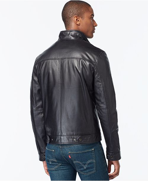 Michael Kors Michael Kors Men s Big   Tall Leather Jacket - Coats ... 0bacb810ed3d