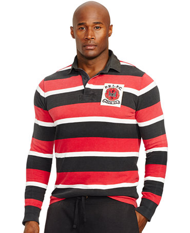 Polo ralph lauren big and tall striped jersey rugby shirt for Big and tall polo rugby shirts