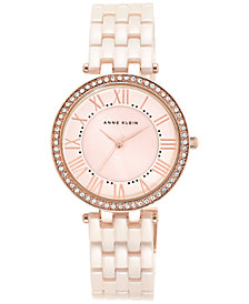 Anne Klein Women's Light Pink Ceramic Bracelet Watch 34mm AK-2130RGLP