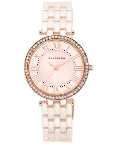 Anne Klein Women's Light Pink Ceramic Bracelet Watch 34mm AK-2130RGLP