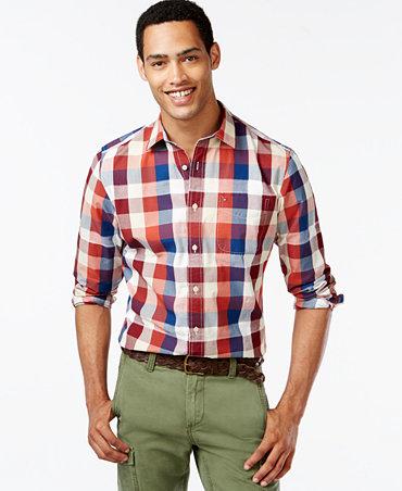 Tommy hilfiger big and tall segal plaid long sleeve custom for Big and tall custom shirts