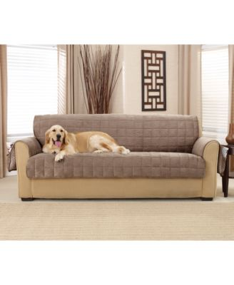 Sure Fit Deep Pile Polyester Velvet with NonSkid Paw Print Pet