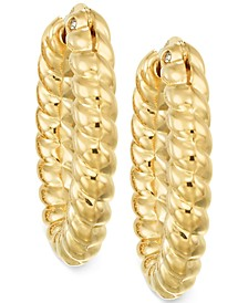Rope Hoop Earrings in 14k Gold over Resin