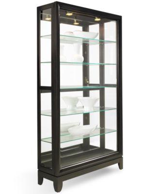 Drake Dual-Slide Contemporary Curio Cabinet - Furniture - Macy's