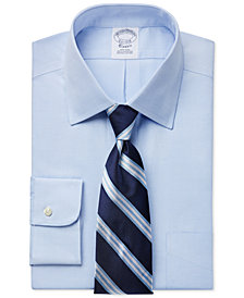 Brooks Brothers Regent Slim-Fit Non-Iron Light Blue Pinpoint Solid Dress Shirt and Bar Stripe Tie