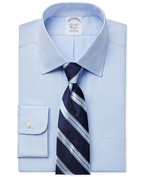 e2ef28257bdf Brooks Brothers Regent Slim-Fit Non-Iron Light Blue Pinpoint Solid Dress  Shirt and