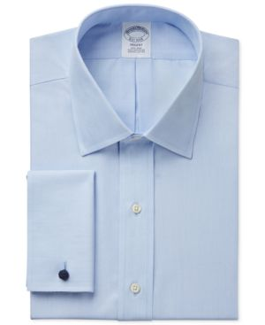 BROOKS BROTHERS Regent Slim-Fit Non-Iron Solid French Cuff Broadcloth Dress Shirt in Light Blue
