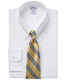 Brooks Brothers Regent Slim-Fit Non-Iron White Pinpoint Solid Dress Shirt and Bar Stripe Tie