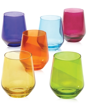 Lenox Tuscany Color Stemware Collection Set of 6 Stemless Wine Glasses