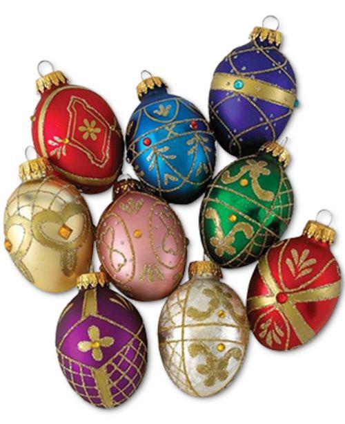 Kurt Adler Set of 9 Decorative Egg Ornaments