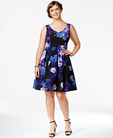 City Chic Plus Size Floral-Print Flare Dress