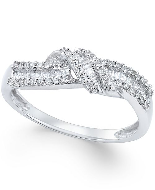 Macy's Diamond Knot Ring (1/4 ct. t.w.) in Sterling Silver