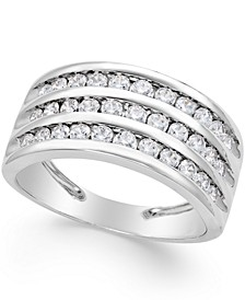 Three-Row Diamond Ring (1 ct. t.w.) in 14k White Gold