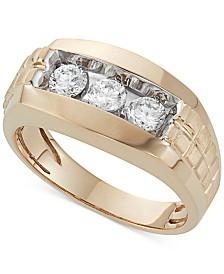 Men's Diamond Trinity Ring (1 ct. t.w.) in 10K Gold
