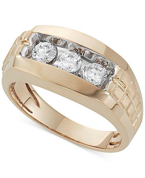 Macy's Men's Diamond Trinity Ring (1 ct. t.w.) in 10K Gold