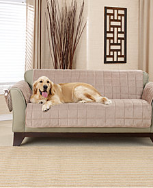 Sure Fit Deep Pile Polyester Velvet With Non Skid Paw Print Pet Back  Loveseat Furniture