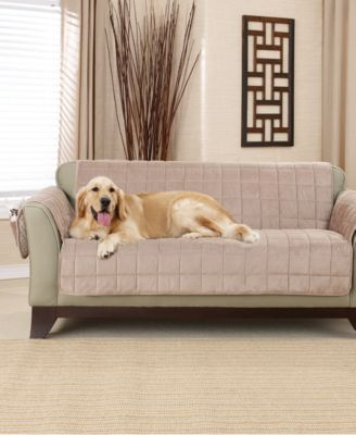 sure fit deep pile polyester velvet with nonskid paw print pet furniture slipcover collection