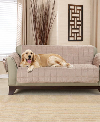 Sure Fit Deep Pile Polyester Velvet With Non Skid Paw Print Pet Furniture Slipcover Collection