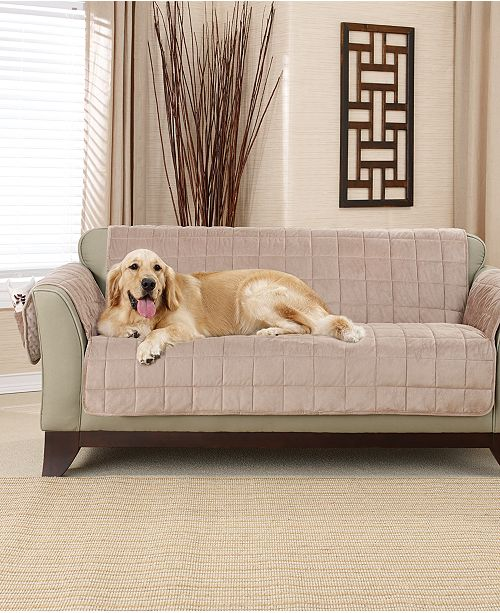 Sure Fit Deep Pile Polyester Velvet with Non-Skid Paw Print Pet Furniture  Slipcover Collection 74688fdd5
