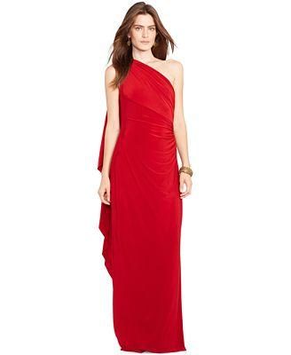 Lauren Ralph Lauren One Shoulder Ruched Gown Dresses