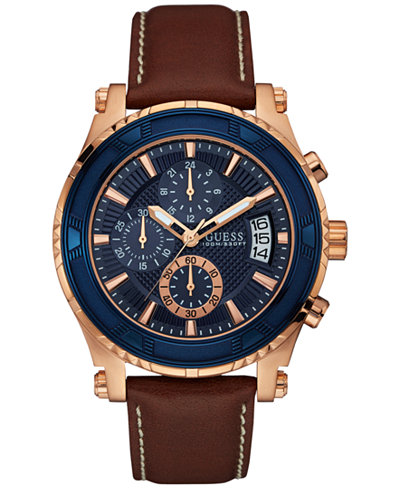 guess guess macy s guess men s chronograph brown leather strap watch 46mm u0673g3