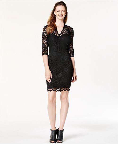 2dfe14eaef144 Karen Kane Three-Quarter-Sleeve Lace Sheath   Reviews - Dresses ...