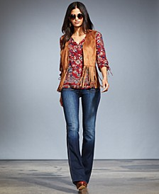Faux-Suede Fringe Vest, Printed Peasant Blouse & Flared Jeans