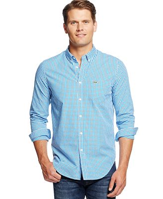 Lacoste Gingham Button-Down Shirt - Casual Button-Down Shirts ...