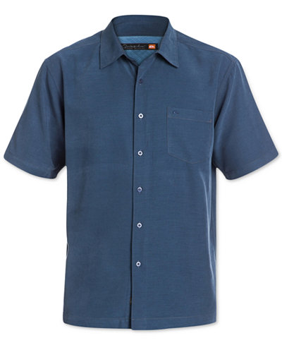Quiksilver waterman men 39 s clear days solid short sleeve for Short sleeve mens dress shirts clearance