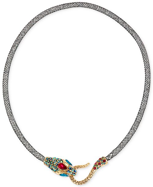 Betsey Johnson Gold-Tone Mesh Crystal Snake Collar Necklace