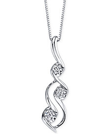 Sirena Diamond Swirl Pendant Necklace (1/10 ct. t.w.) in 14k White Gold
