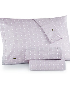 CLOSEOUT! Lacoste Printed Cotton Percale Full Sheet Set